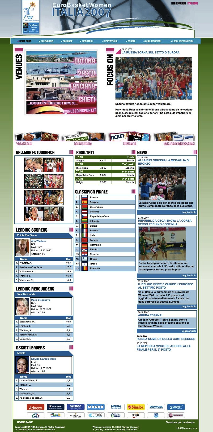 home page europei di basket femminile 2007