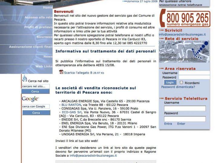 home page di Pescara Distribuzione Gas